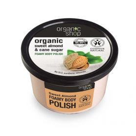 Body polish Sweet Almond, Αφρώδες scrub σώματος, Γλυκό Αμύγδαλο & Ζάχαρη Ζαχαροκάλαμουl, 250ml - Natura Siberica