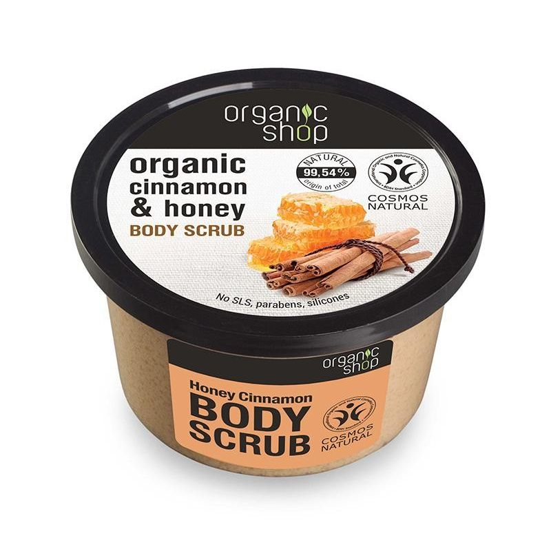 Organic Shop, Body scrub Honey Cinnamon, Scrub σώματος -Natura Siberica Greece -Natura Siberica -PharmacyStories