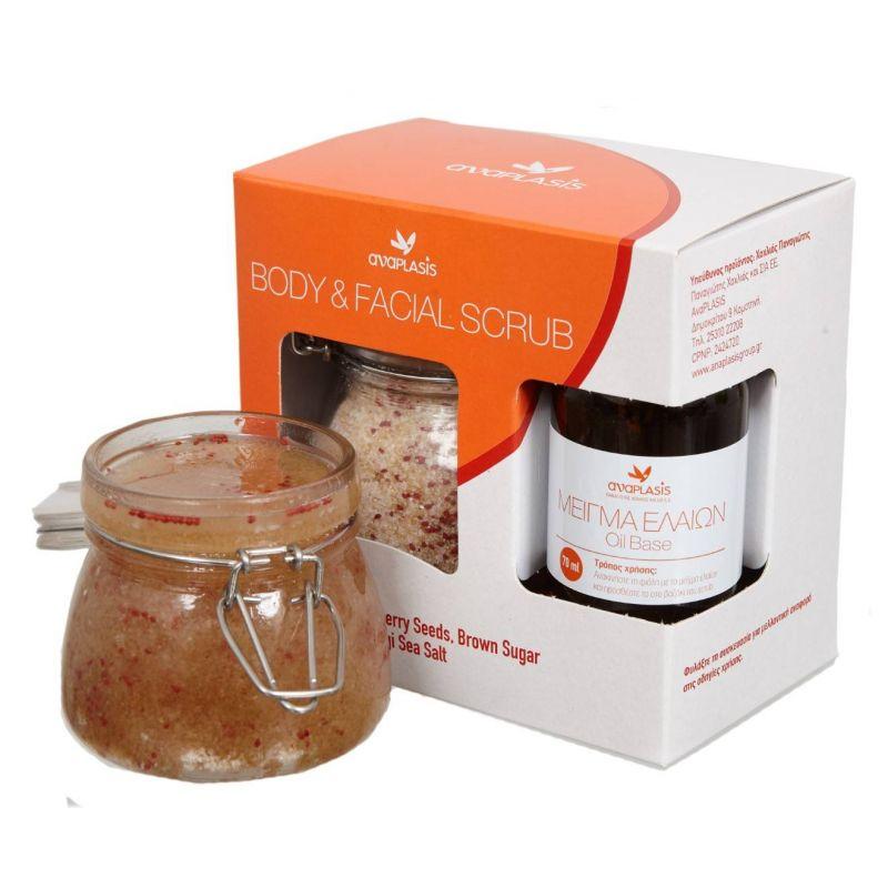 Body & Facial Scrub Με Καστανή Ζάχαρη Ελληνικό Αλάτι Μεσολογγίου & Σπόρους Cranberry Anaplasis 250g - AnaPlasis