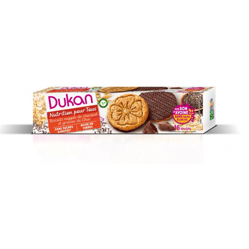 Dukan Μπισκότα βρώμης με επικάλυψη σοκολάτας και σπόρους chia, 160g - Dukan