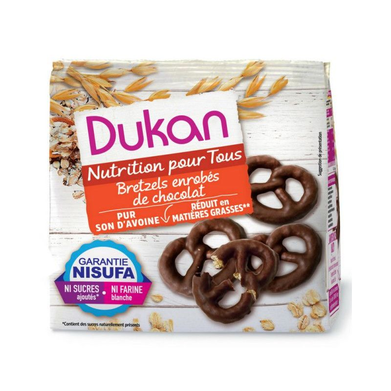 DUKAN Pretzels βρώμης με επικάλυψη σοκολάτας, 100g - Dukan