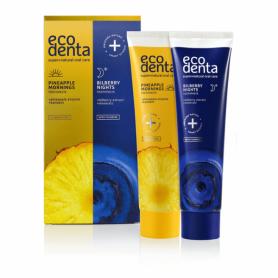 Σετ Πρωινής 100ml + Βραδινής οδοντόκρεμας 100ml (Pineapple mornings and Bilberry nights) – EcoDenta - EcoDenta