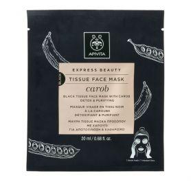 Apivita Express Beauty Black Tissue Face Mask Carob Μάσκα Προσώπου με Χαρούπι, 20mL - Apivita