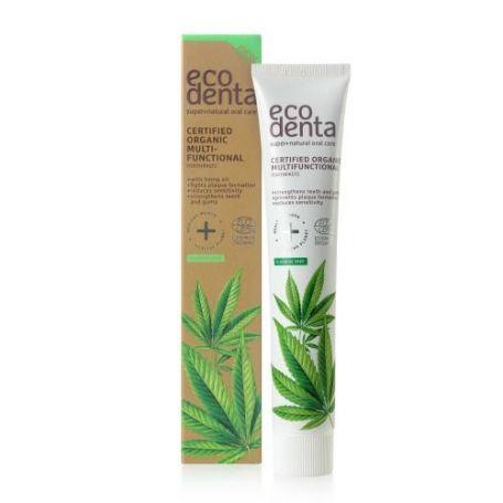 Ecodenta Certified Organic Multi-Functional Toothpaste Βιολογική Οδοντόκρεμα με Έλαιο Κάνναβης 75ml - EcoDenta
