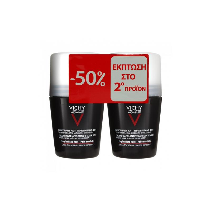 Vichy Homme Deodorant Anti-Transpirant Roll-On 48h 50mlx2 - Vichy