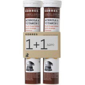 Korres Acerola & Vitamin C 1+1 Δώρο 20+20 Αναβράζοντα Δισκία-pharmacystories