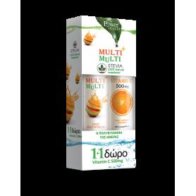 Power Health Multi + Multi με Στέβια 24 αναβράζοντα δισκία + Vitamin C 500mg Πορτοκάλι 20 αναβράζοντα δισκία -Pharmacystories