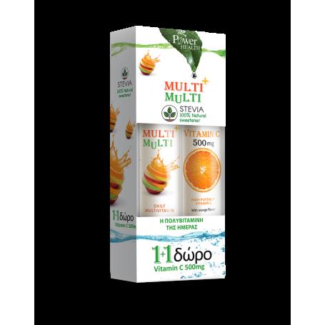 Power Health Multi + Multi με Στέβια 24 δισκία + Vitamin C 500mg Πορτοκάλι 20 δισκία - Power Health