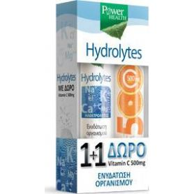Power Health Hydrolytes + Vitamin C 500mg 2 x 20 αναβράζοντα δισκία -pharmacystories