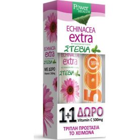 Power Health Echinacea Extra με Στέβια 24  δισκία + Vitamin C 500mg Πορτοκάλι 20 δισκία -Pharmacystories