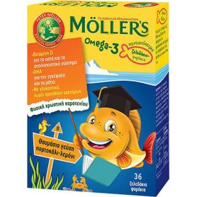 Moller's Omega 3 για Παιδιά 36 ζελεδάκια Πορτοκάλι Λεμόνι - Moller's