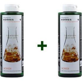 Korres Σαμπουάν με Κυστίνη & Γλυκοπρωτεΐνες για την Γυναικεία Τριχόπτωση (1+1 Δώρο) 2x250ml - Korres