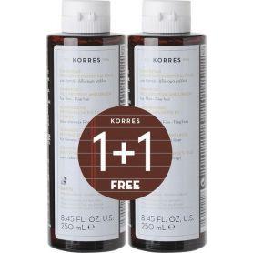 Korres Σαμπουάν για Λεπτά/Αδύναμα Μαλλιά με Πρωτεΐνες Ρυζιού & Τίλιο 250ml & 250ml -pharmacystories