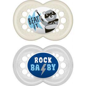 MAM Rock'n Roll Πιπίλα Σιλικόνης Γκρι - Λευκό 16+ μηνών 2τμχ 271S - Mam