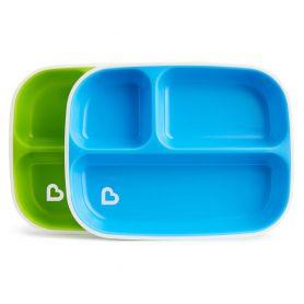 Munchkin, 2 Slash Divided Plates, Πιάτο με χωρίσματα, Χρώμα Μπλέ-Πράσινο, 2τμχ - Munchkin
