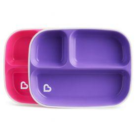 Munchkin, 2 Slash Divided Plates, Πιάτο με χωρίσματα, Χρώμα Ροζ-Μοβ, 2τμχ - Munchkin