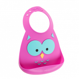 Make My Day Baby Bib, Σαλιάρα Σιλικόνης Owl, 6+ μηνών -pharmacystories-pharmacy-makemyday