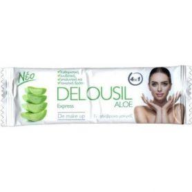 Delousil Aloe Express De Make Up Μαντηλάκια Καθαρισμού & Ντεμακιγιάζ, 12τμχ - Delousil
