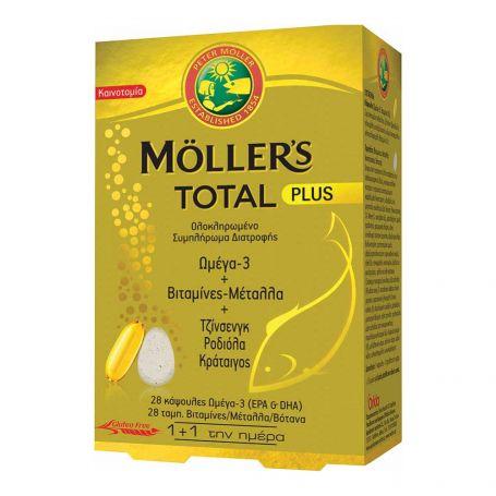 Moller's Total Plus Ολοκληρωμένο Συμπλήρωμα Διατροφής με Ωμέγα-3, Βιταμίνες και Μέταλλα, 28 ταμπλέτες και 28 κάψουλες - Moller's