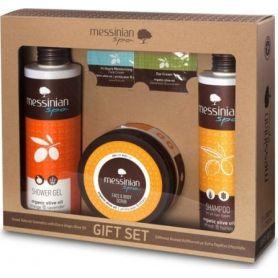 Messinian Spa Shower Gel Orange 300ml & Shampoo all Types 300ml & Face & Body Scrub 250ml - Messinian Spa