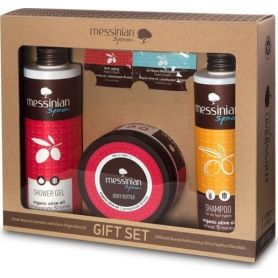 Messinian Spa Shower Gel Pomegranate 300ml + Shampoo All Types Wheat-Honey (σιτάρι-μέλι) 300ml + Body Butter 250ml - Messinia...