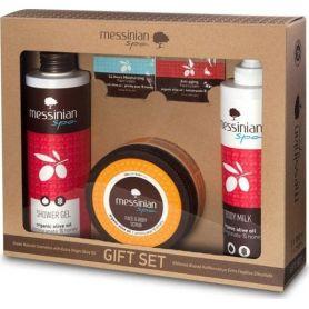 Messinian Spa Shower Gel Pomegranate 300ml + Body Milk 300ml + Face & Body Scrub (Φραγκόσυκο-Δίκταμο) 250ml
