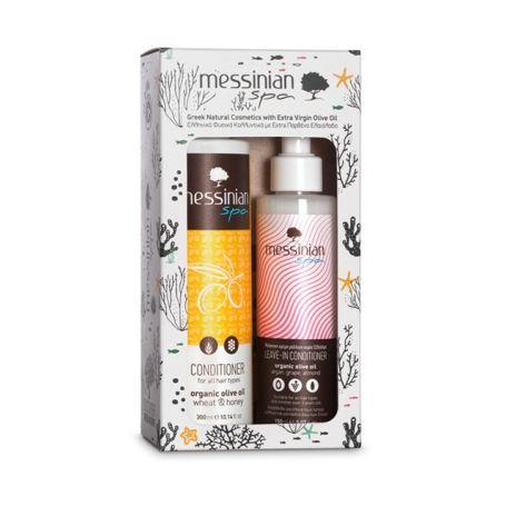 Messinian Spa Organic Olive Oil Wheat & Honey Conditioner 300ml & Leave In Conditioner 150ml - Messinian Spa