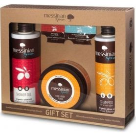 Messinian Spa Shower Gel Pomegranate 300ml + Shampoo All Types 300ml + Face & Body Scrub 250ml - Messinian Spa