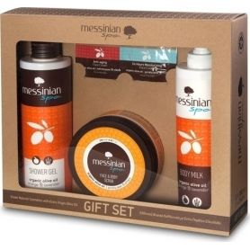 Messinian Spa Shower Gel Orange 300ml + Body Milk 300ml + Face & Body Scrub Prickly Pear/Dittany 250ml - Messinian Spa