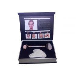 Ag Pharm facial Roller Ρολο Ροζ Χαλαζία και Gua Sha Για Μασαζ Προσωπου 1τεμ - Ag pharm