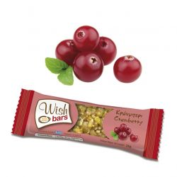 Wish Bars Cranberry Φυσική Μπάρα Ενέργειας με Κράνμπερι 25g - Wish