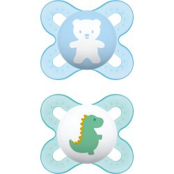 Mam Ορθοδοντική Πιπίλα Σιλικόνης Bear/Dino 0-2m 2τμχ - Mam
