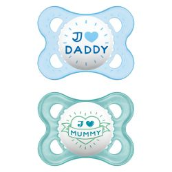 Mam I Love Daddy Πιπίλα Σιλικόνης 2-6m Μπλε/Γκρι 2τμχ 115S - Mam