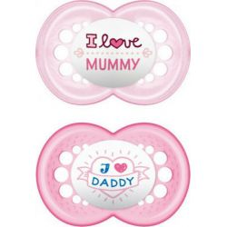 Mam Original I Love Mummy & Daddy Σιλικόνης Pink/Fuchsia 16m+ 2τμχ - Mam