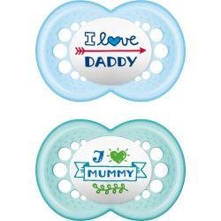 Mam I Love Mummy & Daddy Ορθοδοντική Σιλικόνης Ciel/Blue 6m+ 2τμχ - Mam