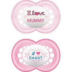 MAM I Love Mummy & Daddy Πιπίλα με Θηλή Σιλικόνης 16m+ 2τμχ - Mam