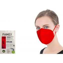 Famex Μάσκα Προστασίας Ενηλίκων FFP2 NR Κόκκινο Χρώμα 10τμχ - Famex